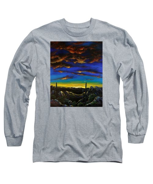 Long Sleeve T-Shirt featuring the painting Desert View by Lance Headlee