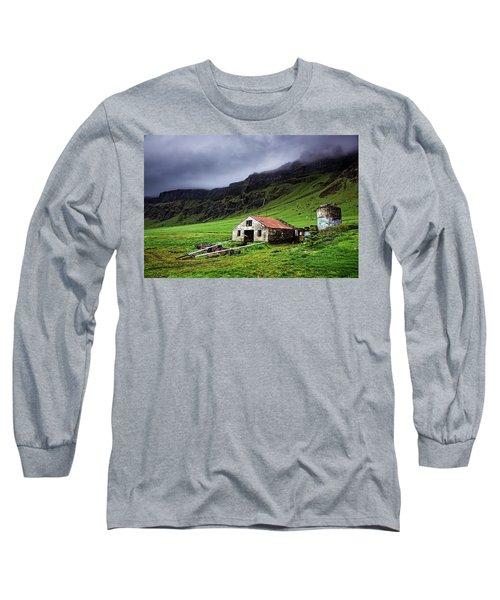 Deserted Barn In Iceland Long Sleeve T-Shirt