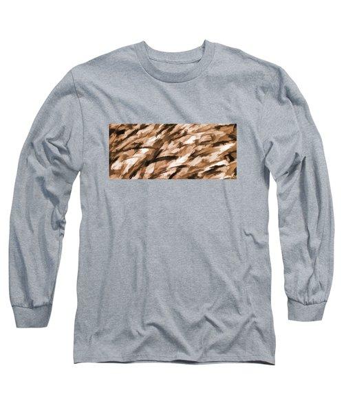 Designer Camo In Beige Long Sleeve T-Shirt