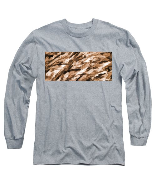 Designer Camo In Beige Long Sleeve T-Shirt