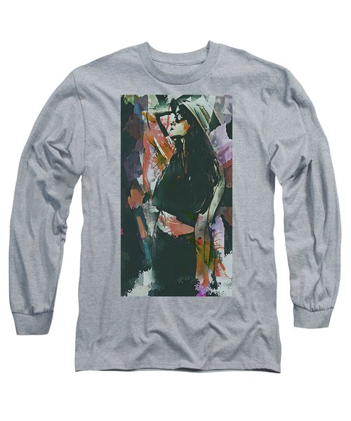 Long Sleeve T-Shirt featuring the digital art Destinations Abstract Portrait by Galen Valle