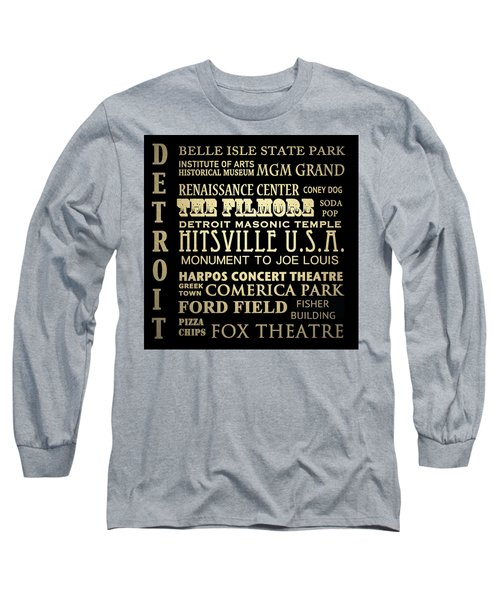 Detroit Michigan Famous Landmarks Long Sleeve T-Shirt