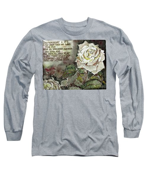 Long Sleeve T-Shirt featuring the painting Deuteronomy 6 by Mindy Newman