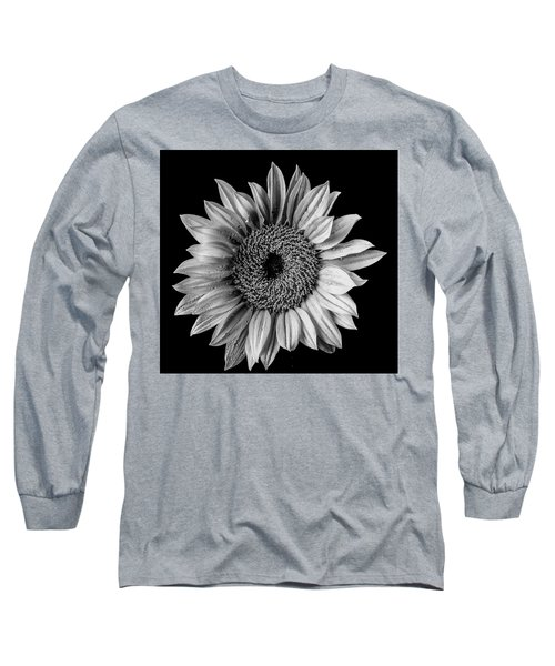 Dew Covered Sunflower In Black And White Long Sleeve T-Shirt
