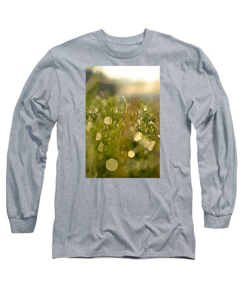 Long Sleeve T-Shirt featuring the photograph Dew Droplets by Nikki McInnes