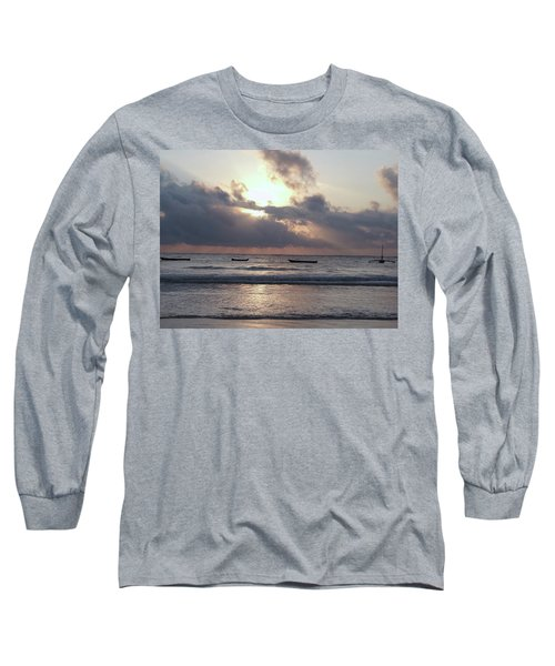 Dhow Wooden Boats At Sunrise 1 Long Sleeve T-Shirt