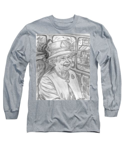 Long Sleeve T-Shirt featuring the drawing Diamond Jubilee by Teresa White