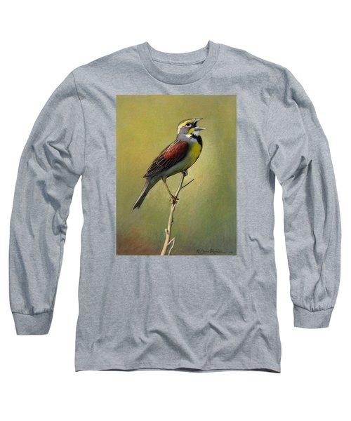Dickcissel Summer Song Long Sleeve T-Shirt by Bruce Morrison