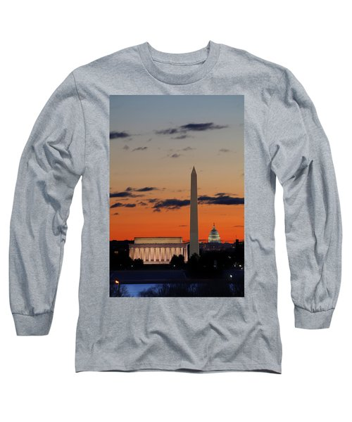 Digital Liquid -  Monuments At Sunrise Long Sleeve T-Shirt