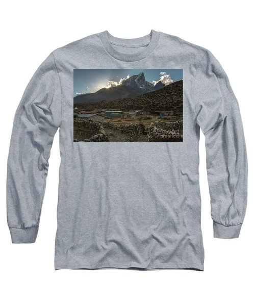 Long Sleeve T-Shirt featuring the photograph Dingboche Evening Sunrays by Mike Reid