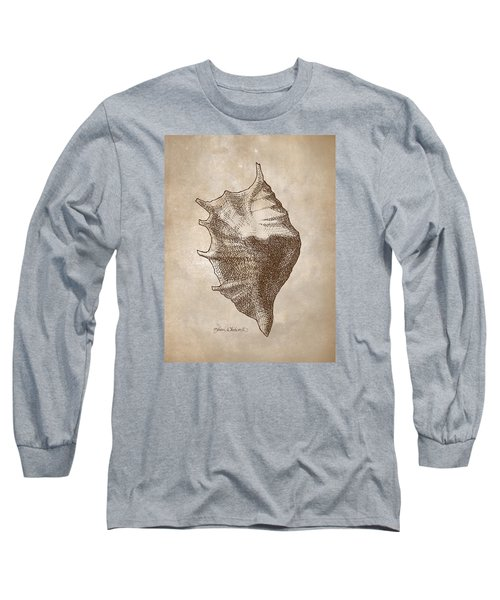 Long Sleeve T-Shirt featuring the drawing Distressed Antique Nautical Seashell 1  by Karen Whitworth