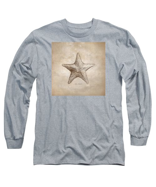Long Sleeve T-Shirt featuring the drawing Distressed Antique Nautical Starfish by Karen Whitworth