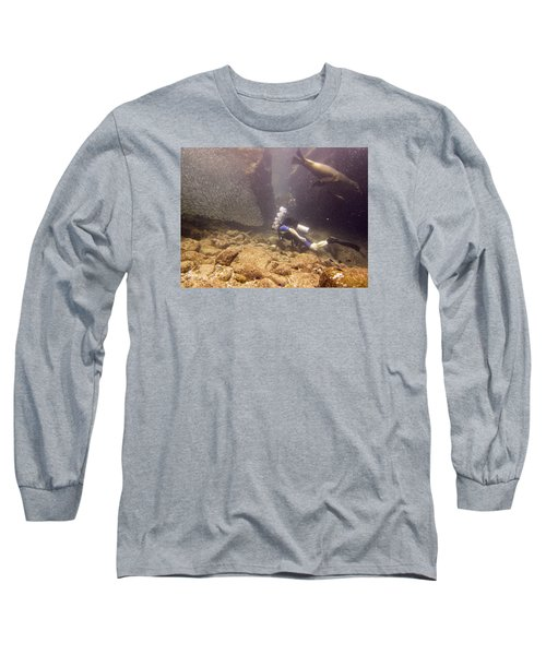 Diver And Sea Lion Long Sleeve T-Shirt