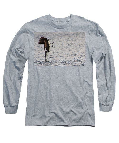 Diving Pelican Long Sleeve T-Shirt by Laurel Talabere