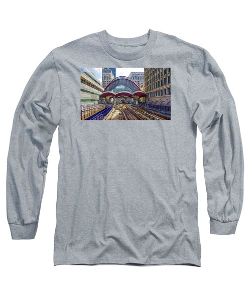 Dlr Canary Wharf And Approaching Train Long Sleeve T-Shirt by Venetia Featherstone-Witty