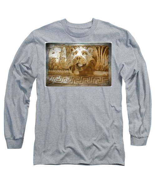 Do-00313 Lion Water Feature Long Sleeve T-Shirt by Digital Oil