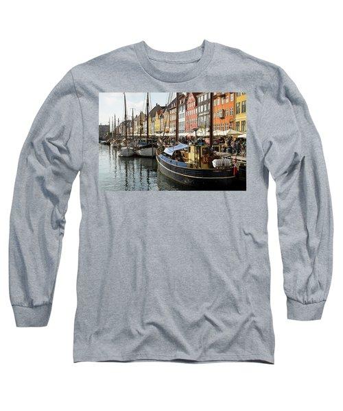 Dockside At Nyhavn Long Sleeve T-Shirt by Eric Nielsen