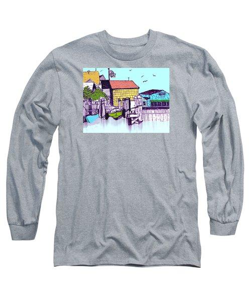 Dockside - Watercolor Sketch Long Sleeve T-Shirt by Merton Allen