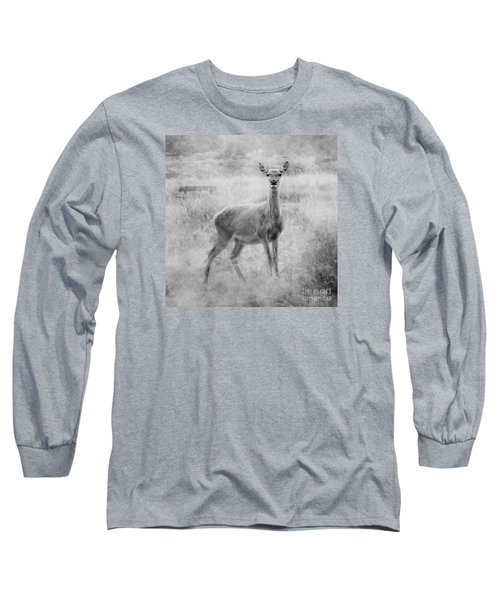 Long Sleeve T-Shirt featuring the photograph Doe A Deer A Female Deer In Mono by Linsey Williams