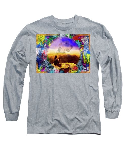 Long Sleeve T-Shirt featuring the painting Dog Heaven by Ted Azriel