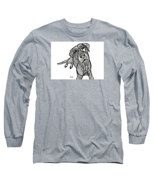 Long Sleeve T-Shirt featuring the drawing Dog Sketch In Charcoal 10 by Ania M Milo