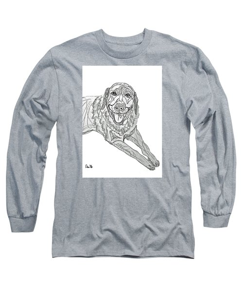 Long Sleeve T-Shirt featuring the drawing Dog Sketch In Charcoal 9 by Ania M Milo