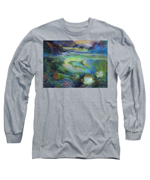 Long Sleeve T-Shirt featuring the painting Dolphin Fantasy by Denise Fulmer
