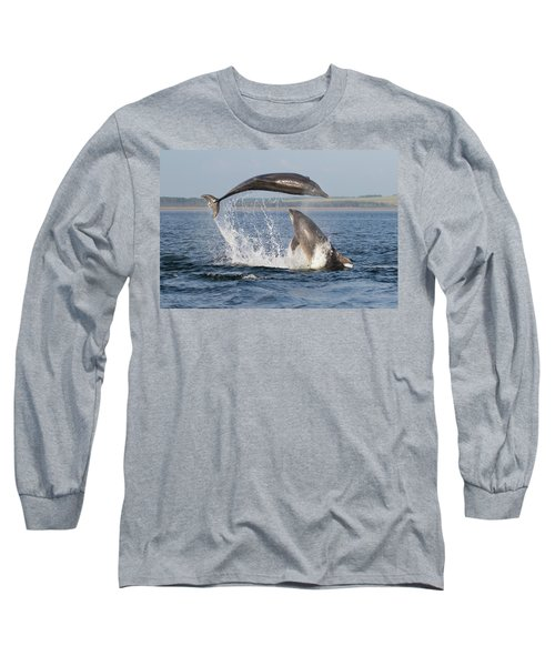 Long Sleeve T-Shirt featuring the photograph Dolphins Having Fun by Karen Van Der Zijden