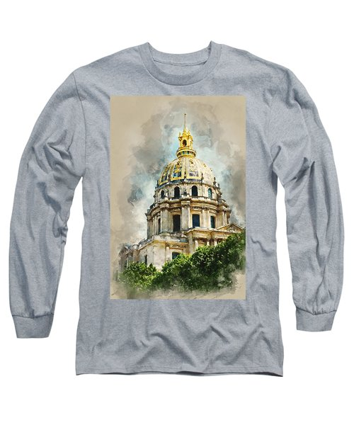 Long Sleeve T-Shirt featuring the digital art Dome Des Invalides by Kai Saarto