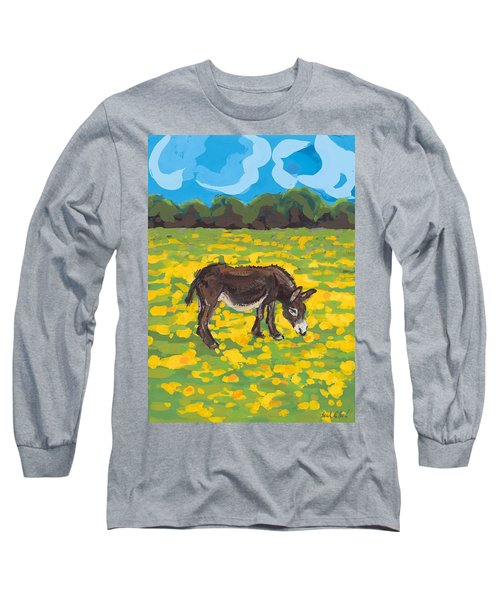Donkey And Buttercup Field Long Sleeve T-Shirt by Sarah Gillard