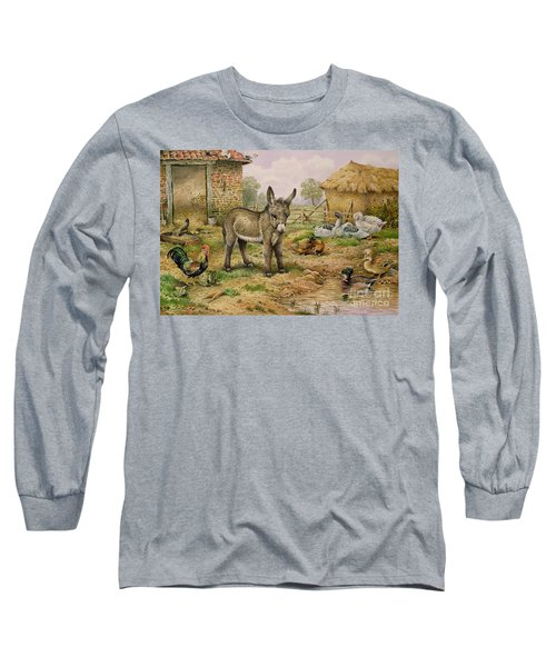 Donkey And Farmyard Fowl  Long Sleeve T-Shirt by Carl Donner