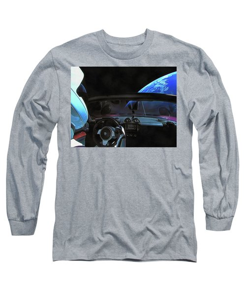 Dont Panic - Tesla In Space Long Sleeve T-Shirt