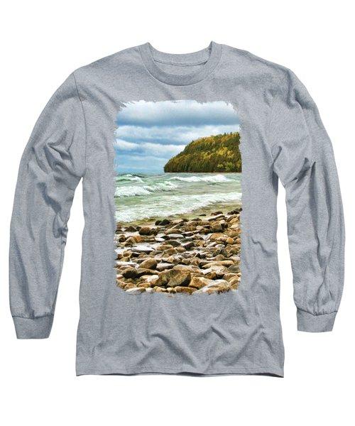Door County Porcupine Bay Waves Long Sleeve T-Shirt