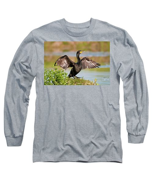 Double-crested Cormorant Long Sleeve T-Shirt by Gary Lengyel