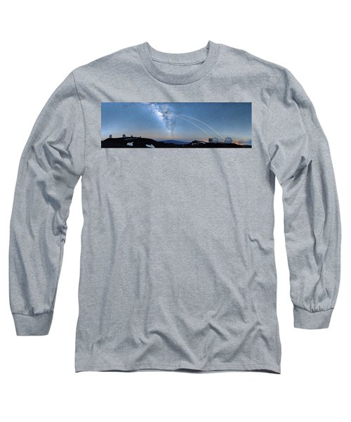 Double Lasers With The Milky Way Panorama Long Sleeve T-Shirt