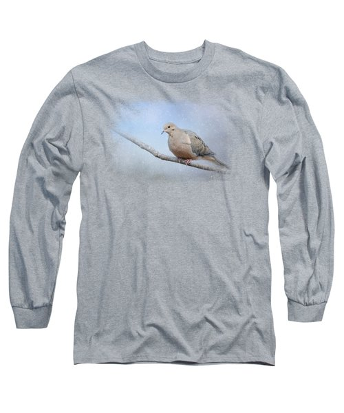 Dove In The Snow Long Sleeve T-Shirt by Jai Johnson