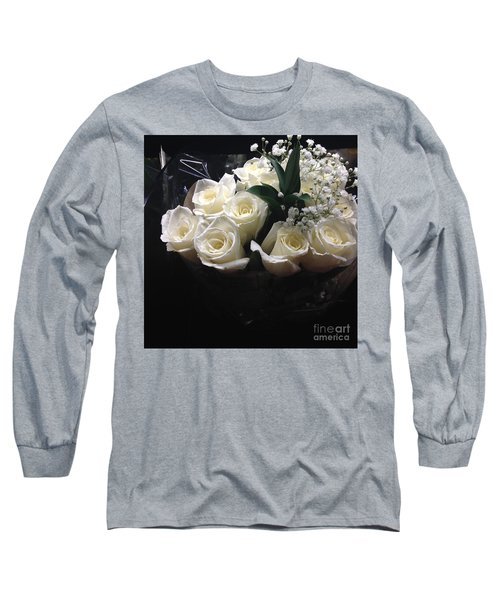Long Sleeve T-Shirt featuring the photograph Dozen White Bridal Roses by Richard W Linford