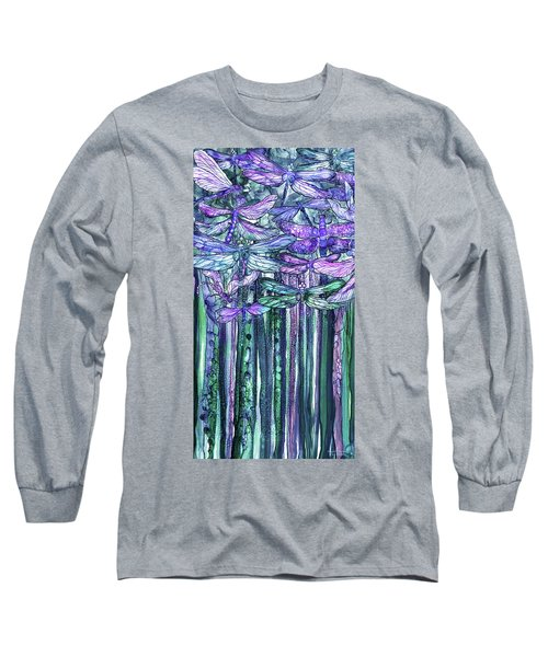 Long Sleeve T-Shirt featuring the mixed media Dragonfly Bloomies 2 - Lavender Teal by Carol Cavalaris