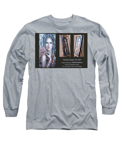 Long Sleeve T-Shirt featuring the painting Drama Queen 301109 by Selena Boron
