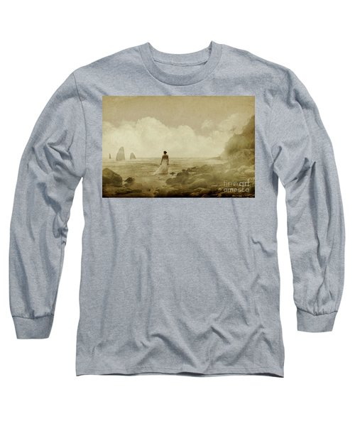 Dramatic Seascape And Woman Long Sleeve T-Shirt