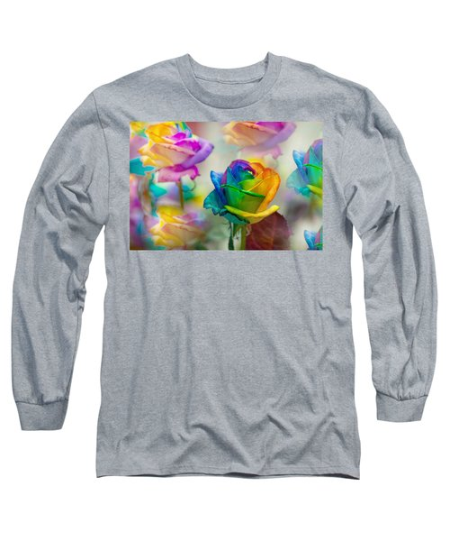 Long Sleeve T-Shirt featuring the photograph Dreams Of Rainbow Rose by Jenny Rainbow