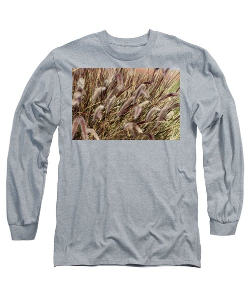 Dried Grasses In Burgundy And Toasted Wheat Long Sleeve T-Shirt