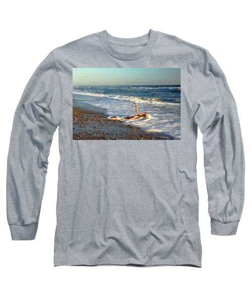 Long Sleeve T-Shirt featuring the photograph Driftwood In The Surf by Roupen  Baker