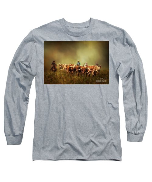 Driving The Herd Long Sleeve T-Shirt by Priscilla Burgers