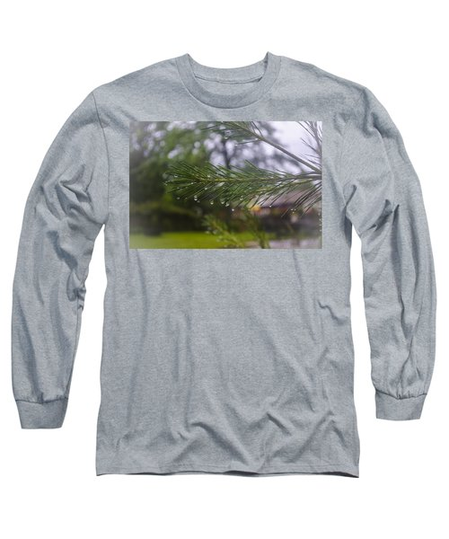 Long Sleeve T-Shirt featuring the photograph Droplets On Pine Branch by Deborah Smolinske