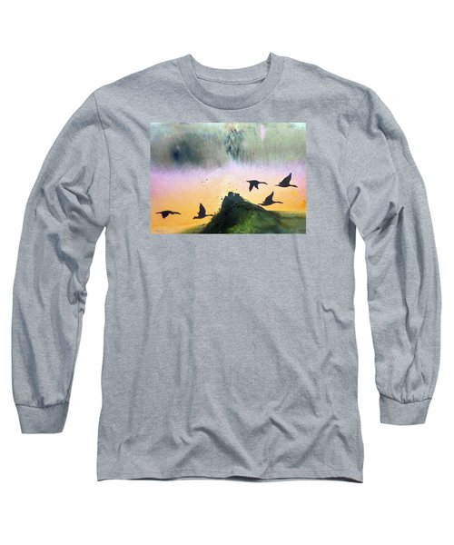 Long Sleeve T-Shirt featuring the painting  Lake Lucerne by Ed  Heaton