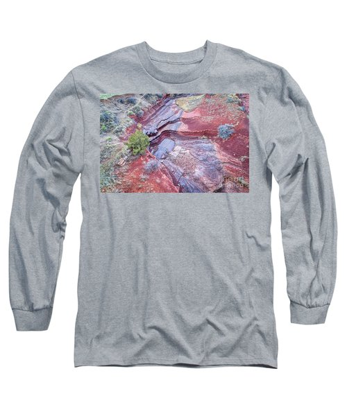 Dry Stream Canyon Areial View Long Sleeve T-Shirt