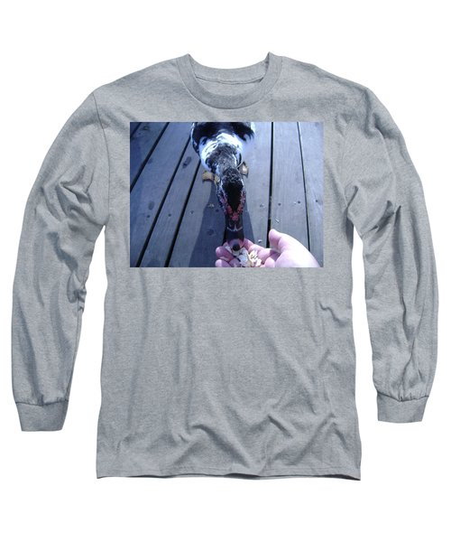 Duck Eating From My Hand Long Sleeve T-Shirt