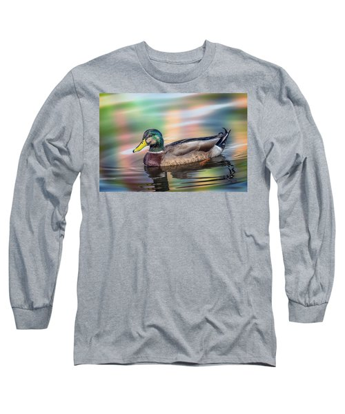 Duck In Water With Autumn Colors Long Sleeve T-Shirt