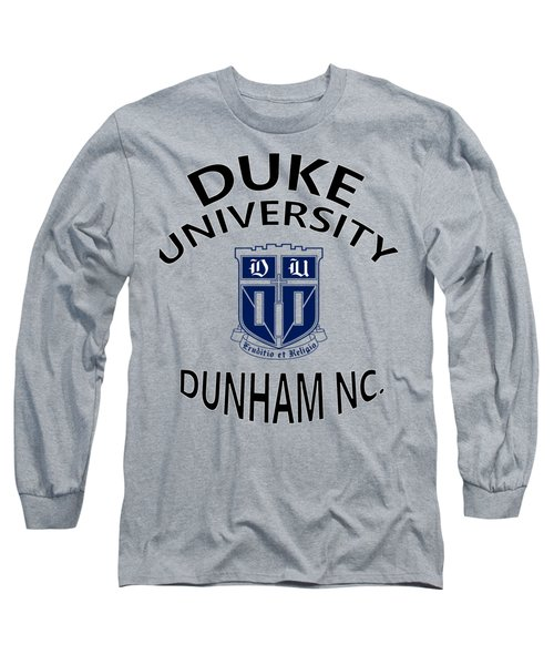 Long Sleeve T-Shirt featuring the digital art Duke University Dunham N C  by Movie Poster Prints